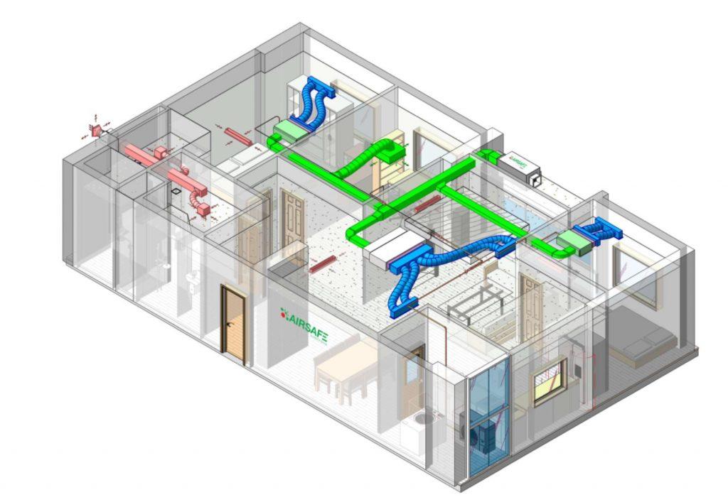 Mô hình căn hộ chung cư sử dụng hệ thống lọc khí tổng AIRSAFE